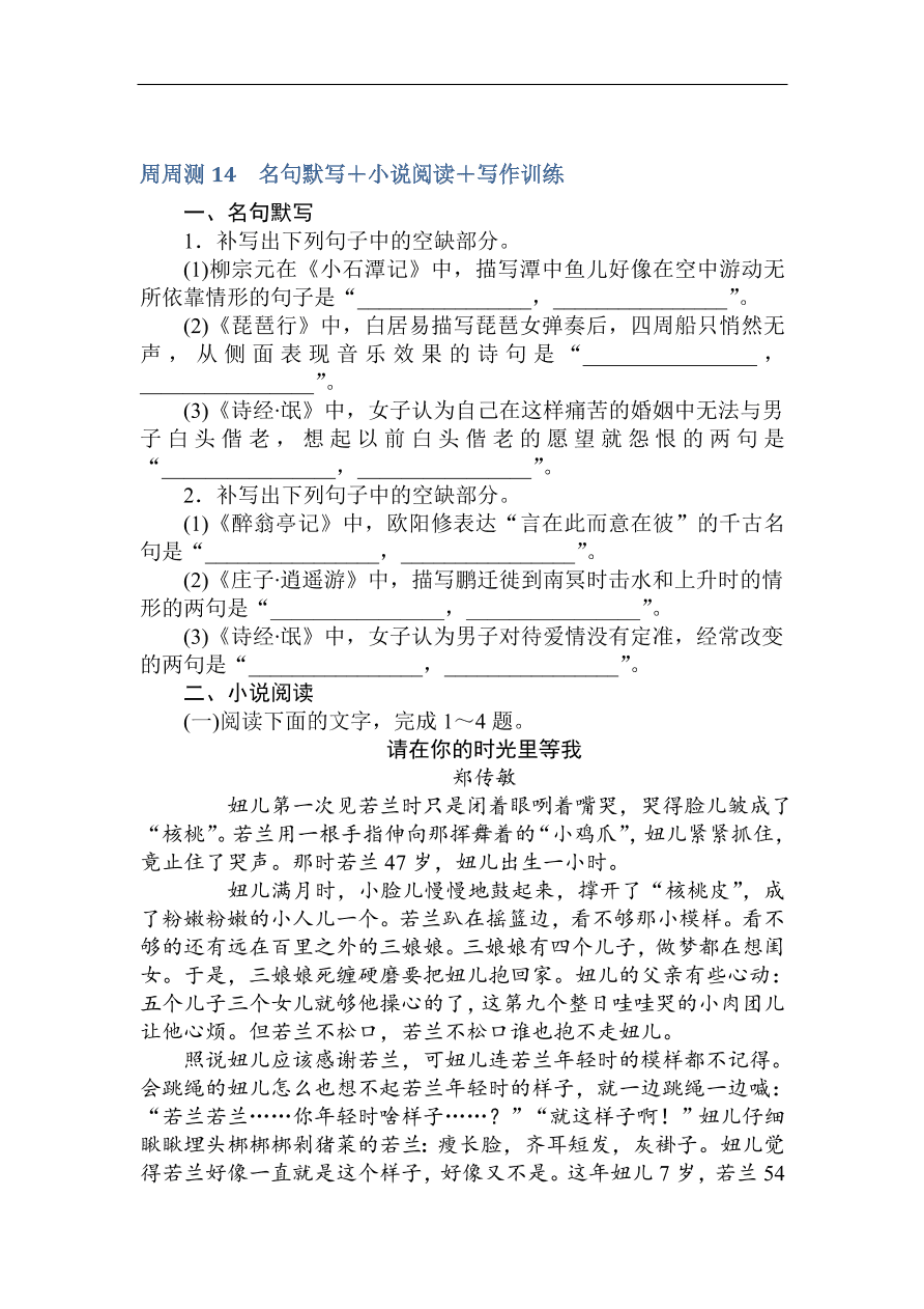 高考语文第一轮总复习全程训练周周测——专项演练14(含答案)