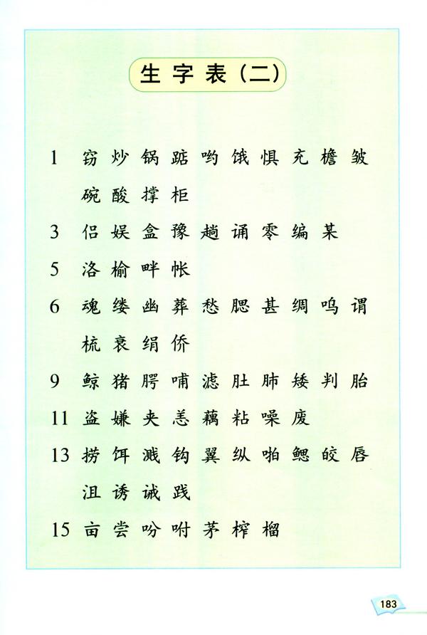 生字表(二)